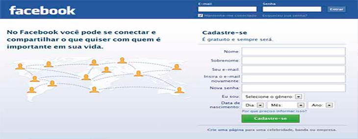 Primeiro Passo: Crie uma conta no Facebook.